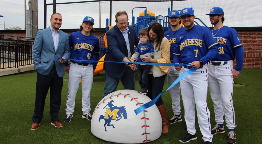 Tanner Stines, Interim Athletics Director, Will Dion, Pitcher, David Griffin, Jordan Griffin, Kimberly Griffin, Sean-Michael Brady, Pitcher, Justin Hill, Head Baseball Coach, and Zack May, Pitcher.