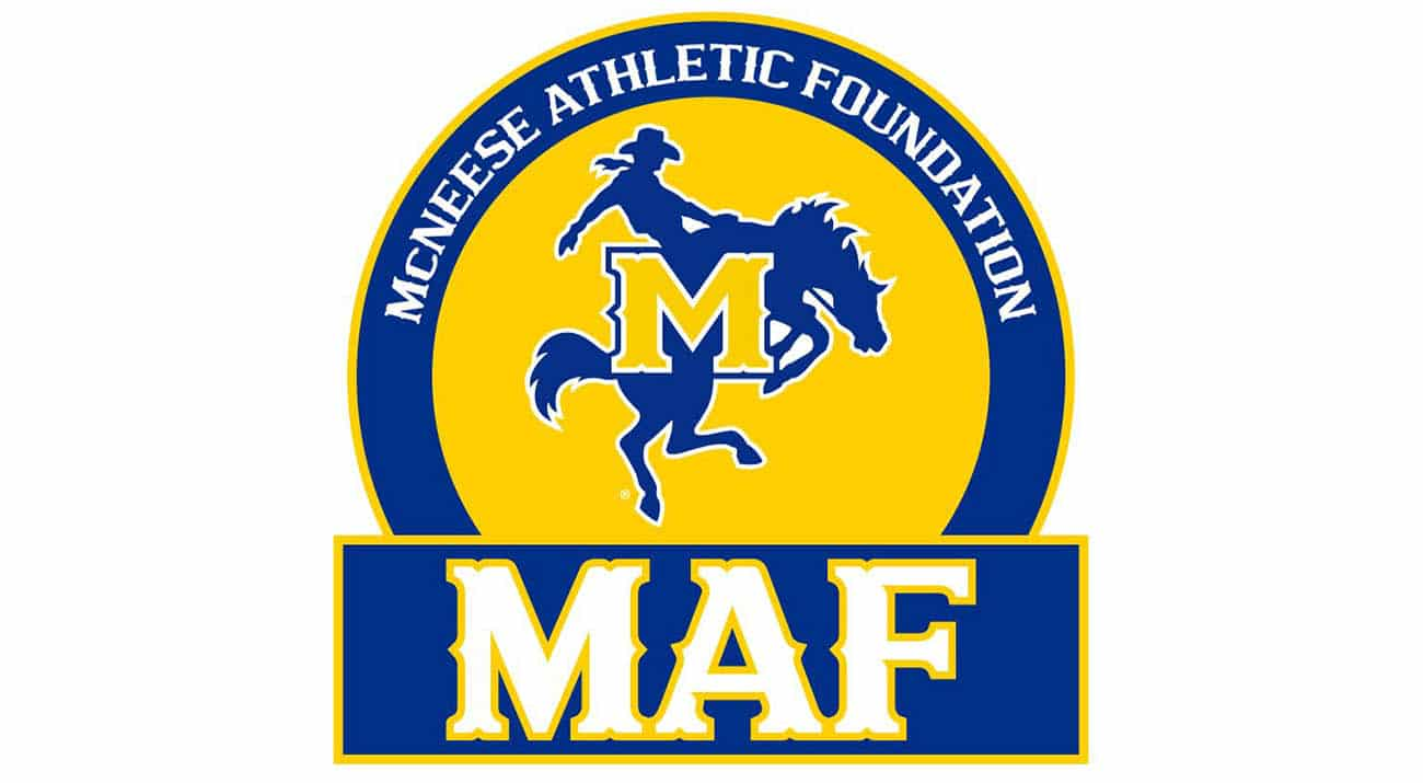 A horse and rider for the McNeese Athletic Foundation logo