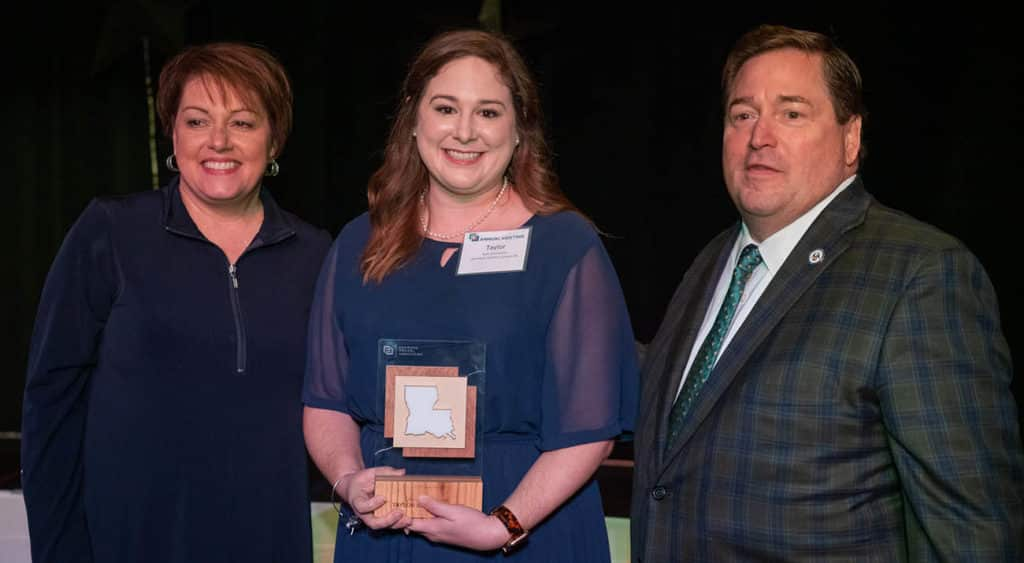 L to R): Jill Kidder, President and CEO of Louisiana Travel Association; Taylor Beard Stanley, Senior Sales Manager of Visit Lake Charles; and Lieutenant Governor Billy Nungesser.