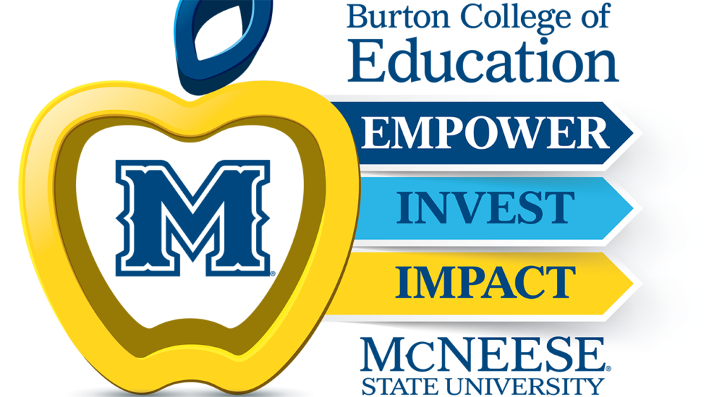 An apple makes up the Burton College of Education logo