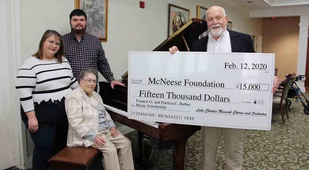 On hand for the presentation are from left Collette Bulber Tanner, Aaron Tanner, grandson of the Bulbers, Patricia Bulber and Richard H. Reid, Vice President for University Advancement and Executive Vice President for the McNeese Foundation.