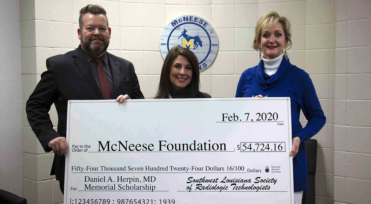 On hand for the presentation are from left: Greg Bradley, head of the McNeese Department of Radiologic and Medical Laboratory Sciences, Cheryl Smith, McNeese Foundation accounts specialist, and Susie Beasley, assistant professor of radiologic sciences and Herpin Scholarship chair.