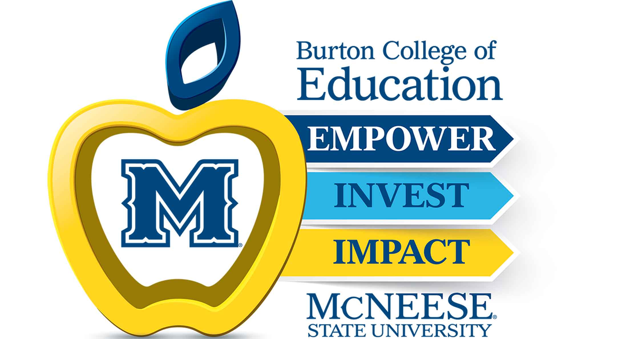 An apple makes a logo for the Burton College of Education.