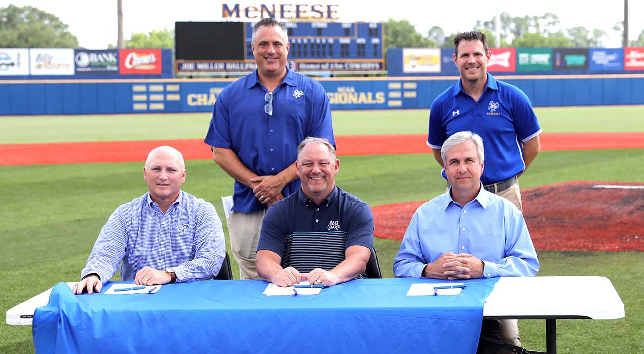 On the baseball field are McNeese President Dr. Daryl Burckel, Interim Director of Athletics Heath Schroyer, Kyle Edmiston, president and CEO of Visit Lake Charles, McNeese baseball head coach Juston Hill and Dr. Wade Rousse, McNeese vice president for University Advancement and executive vice president of the McNeese Foundation.