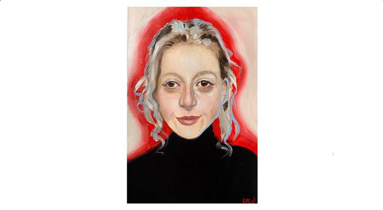 Belle - Quarantine Portrait #39, a portrait of a woman in a black shirt, oil paint on paper, by Lindsey Johnson.