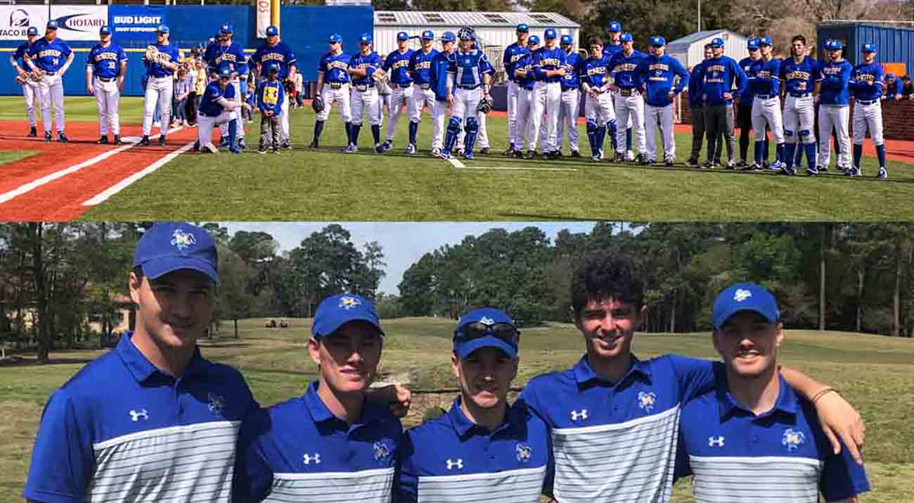 The McNeese baseball team lines up for the national anthem. Five members of the men's golf team gather around for a photo.