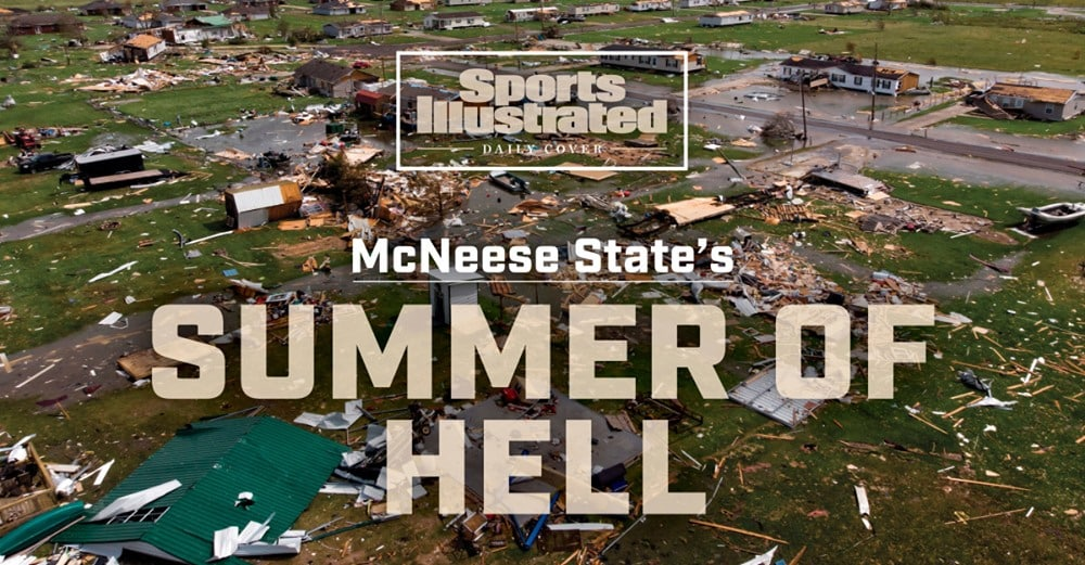 An areal view of destruction in Lake Charles is the Sports Illustrated cover.