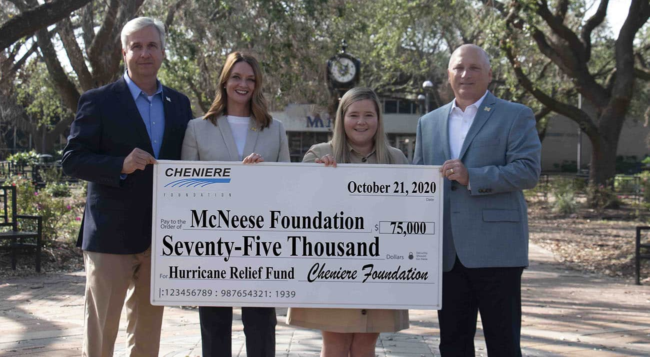 On hand for the presentation are, from left, Dr. Wade Rousse, vice president for university advancement and dean of the college of business, Amy Miller, Cheniere Energy Inc., local government and community affairs, Laura Ferrell, Cheniere Energy Inc., senior representative, government and public affairs, and Dr. Daryl Burckel, McNeese president. McNeese Photo