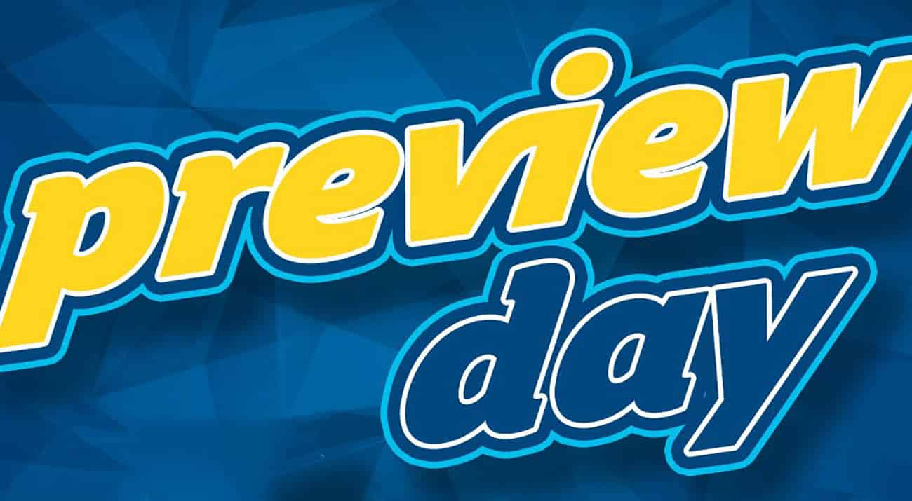 Blue Preview Day Announcement Card