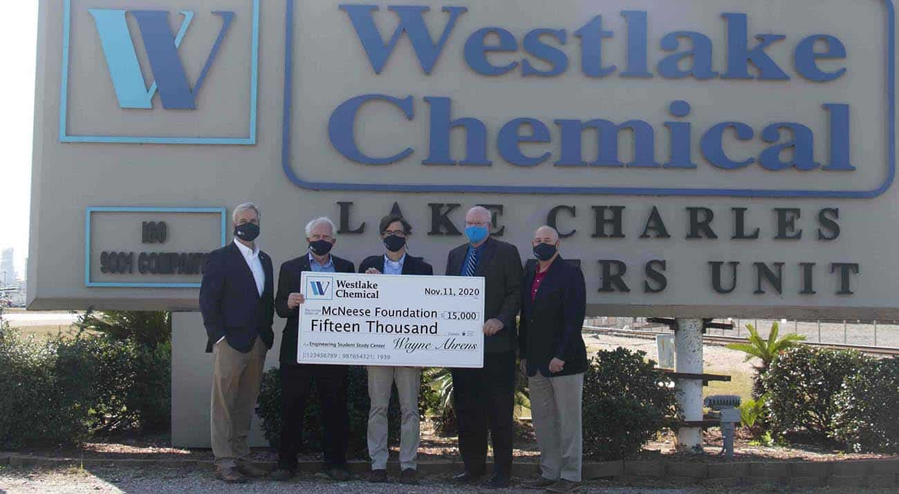 On hand for the presentation are, from left: Dr. Wade Rousse, vice president for university advancement and dean of the college of business; Wayne Ahrens, Westlake Chemical vice president, Operations Region 1; Curtis Brescher, Westlake Chemical plant manager; Dr. Tim Hall, college dean; and Joe Andrepont, Westlake Chemical principal, community and governmental affairs.