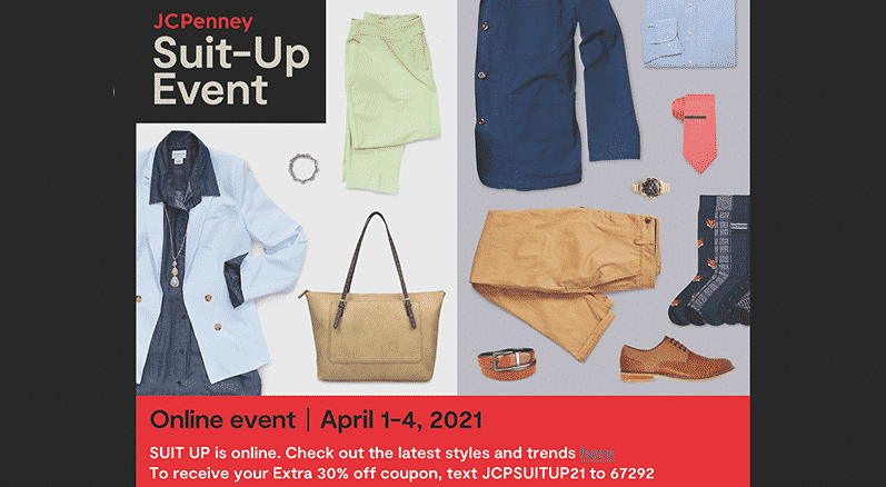 Women's and Men's apparel advertise the Suit Up event.