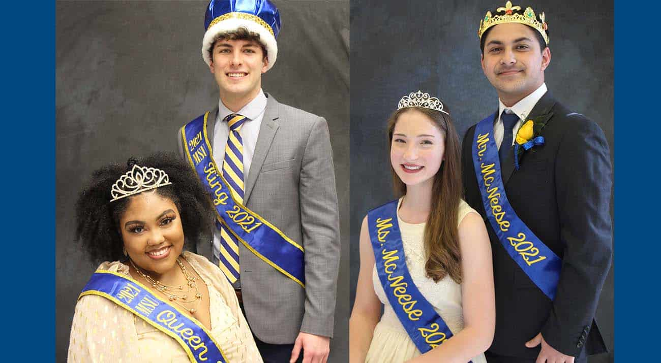Amberly Thompson, Tristan Baggett, Amelia Landreneau and Hasan Mir appear with crowns and sashes as Cowboy Court royalty.