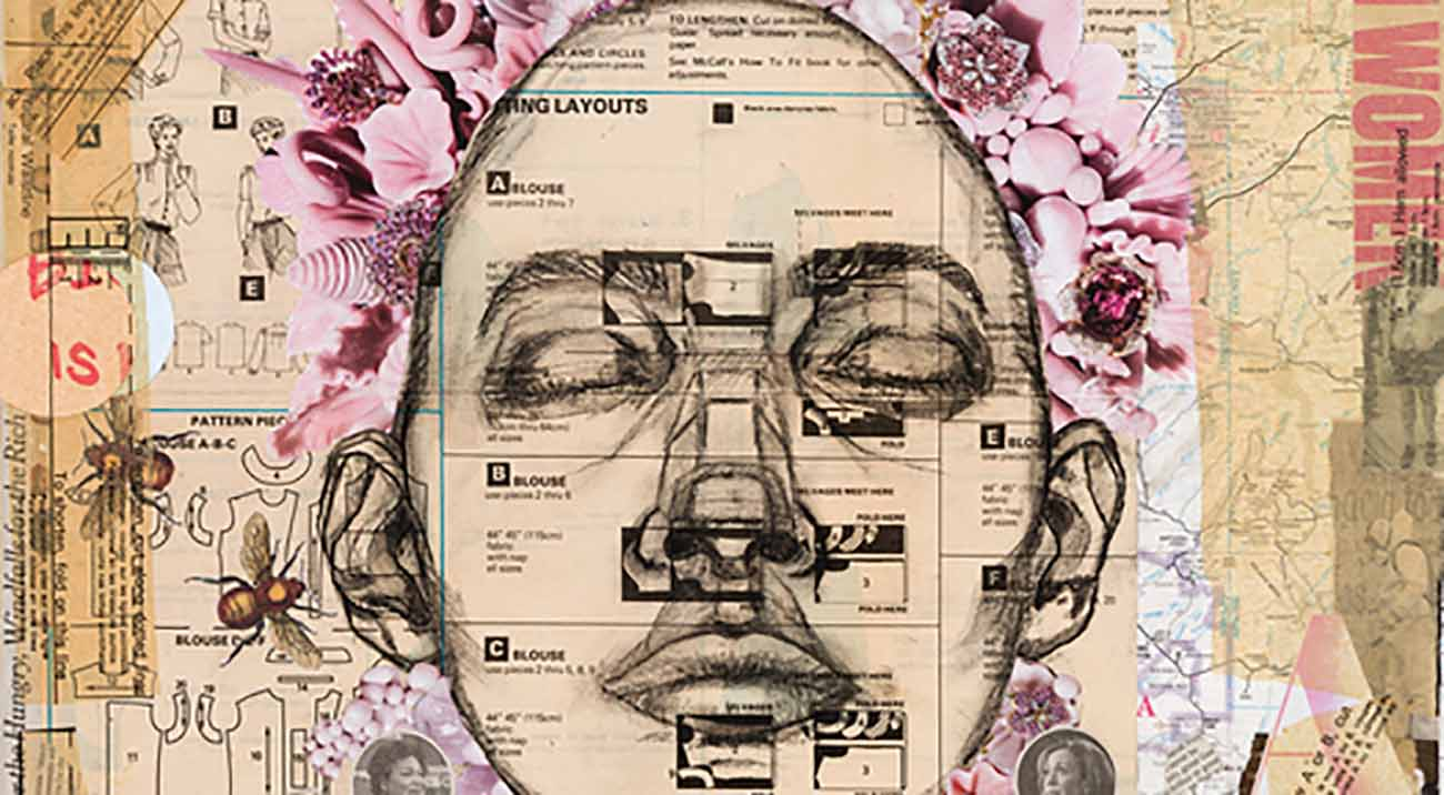 A face with closed eyes surrounded by abstract objects.