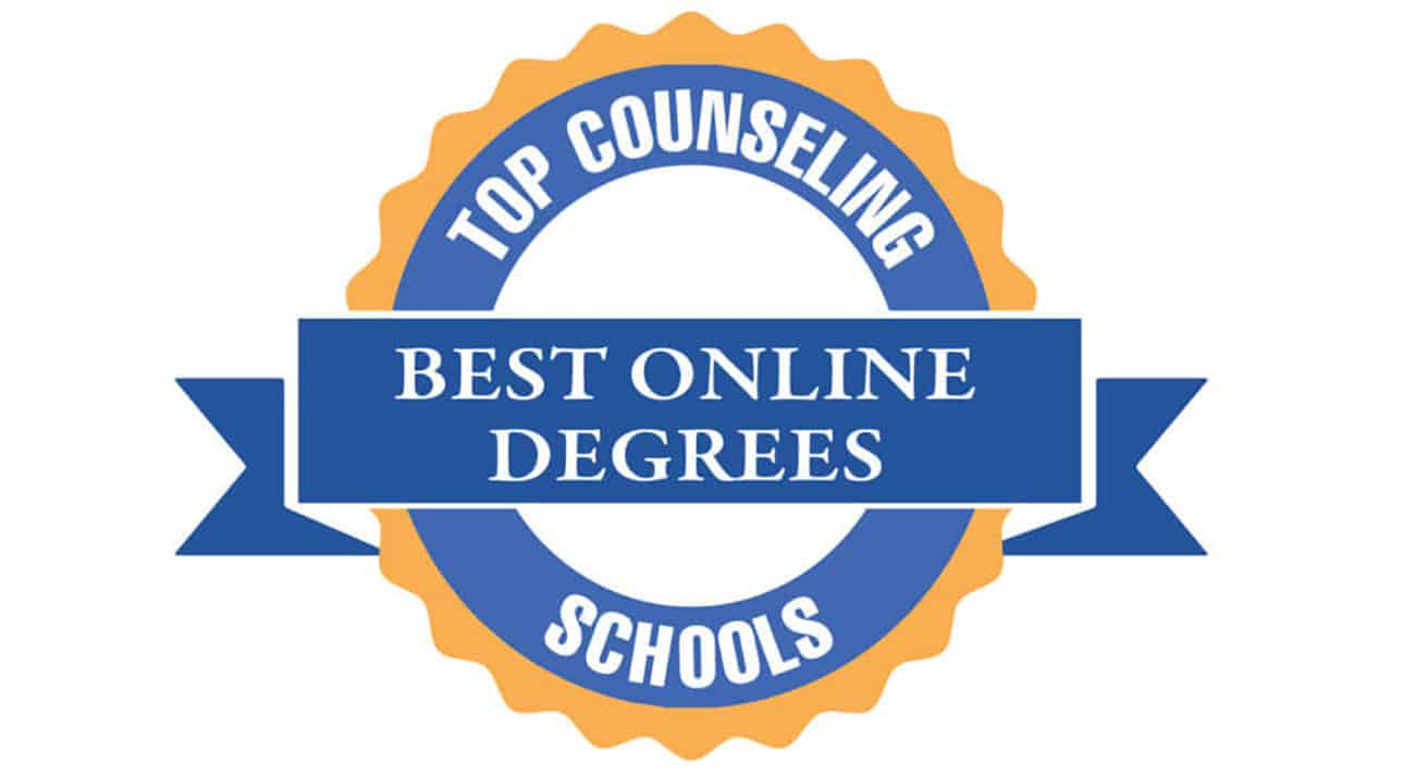 A blue winner ribbon signifies Best Online Degrees from Top Counseling Schools
