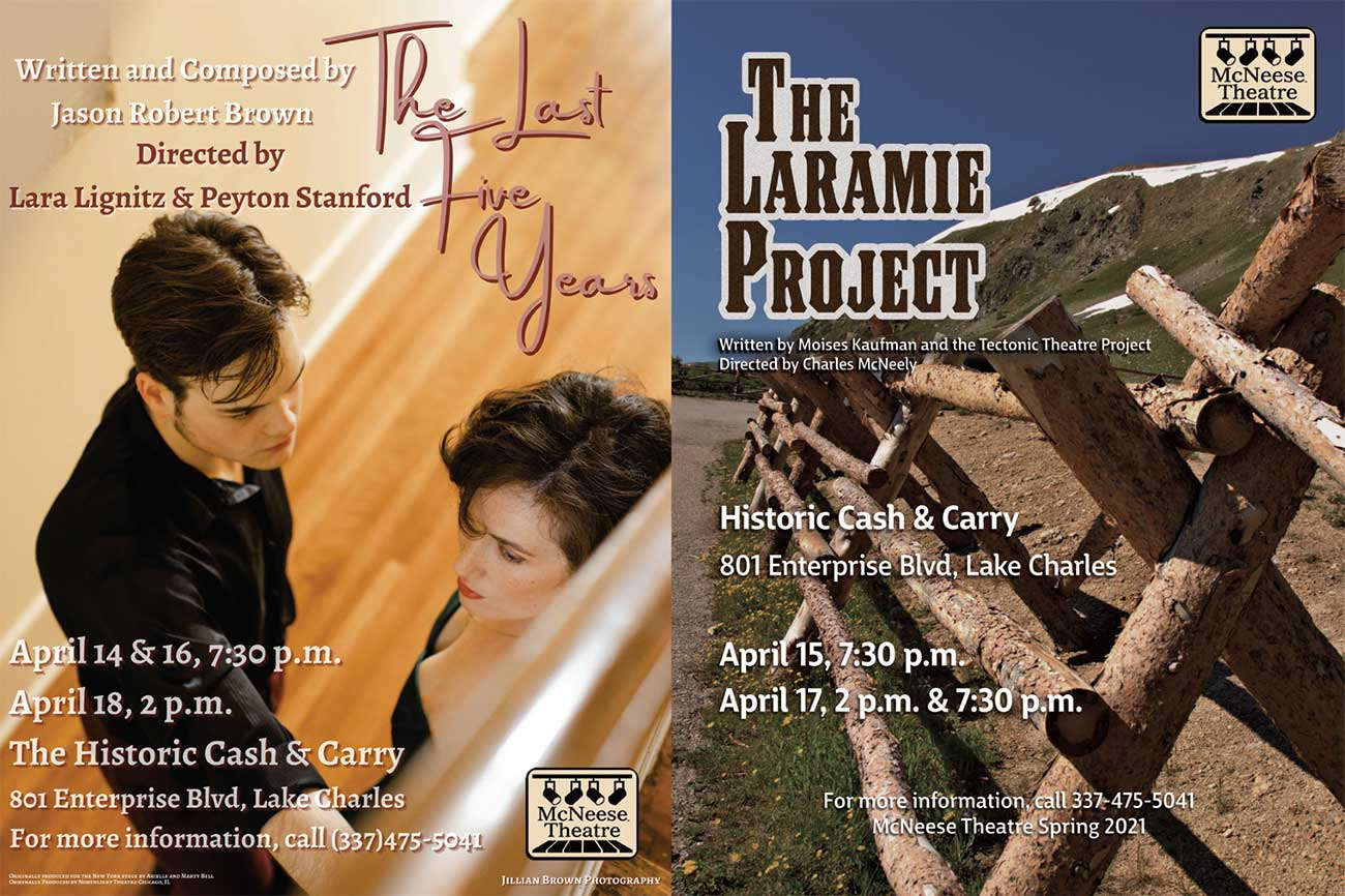 Spring 2021 Theatre posters for McNeese State University