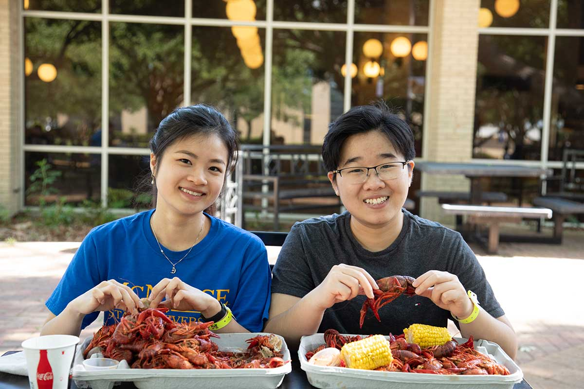 Students enjoy a crawfish boil at McNeese State University