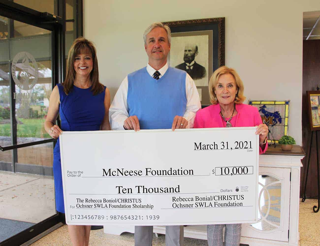 On hand for the donation are, from left, Rebecca F. Boniol, Dr. Wade Rousse, McNeese vice president for university advancement and dean of the college of business, and Kay C. Barnett, CFRE, executive director of development for the CHRISTUS Ochsner Foundation.