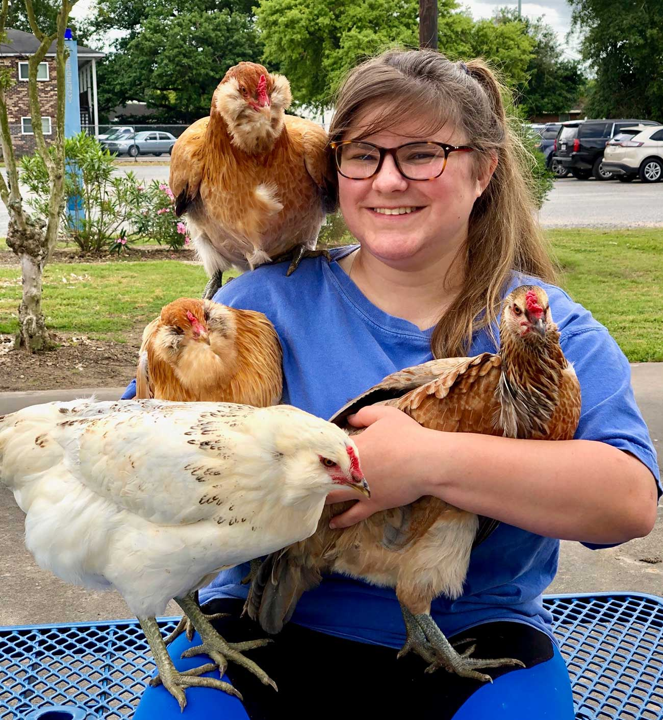 An agricultural intern at McNeese State University