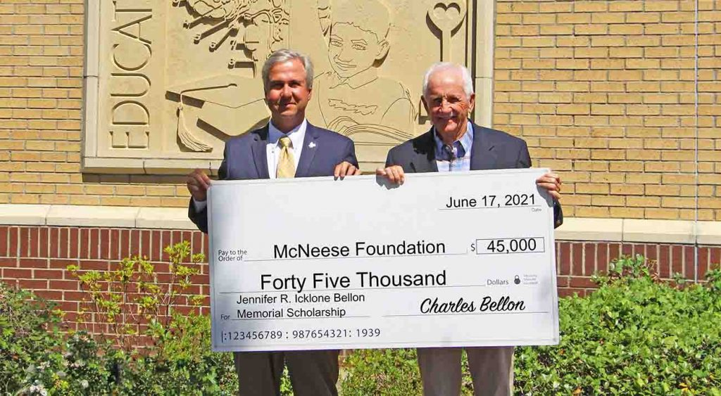 On hand for the donation are, from left, Dr. Wade Rousse, vice president for university advancement and dean of the college of business, and Bellon. McNeese Photo