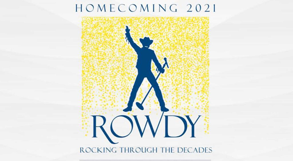 A silhouette of Rowdy stands with a microphone.